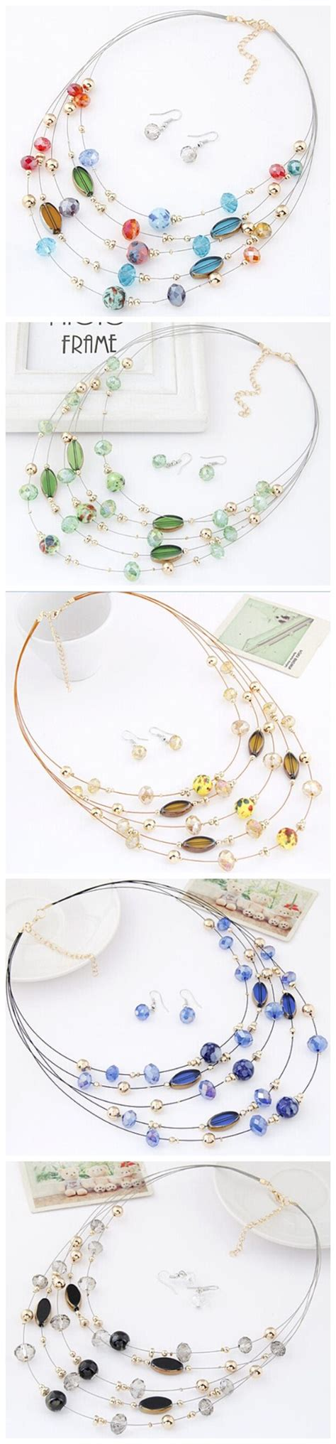 Set Kalung Anting Korean Fashion Multilayer Design Studs Earring Necklace Jewelry Set Green korean style multi layer costume necklace and earrings set chagne