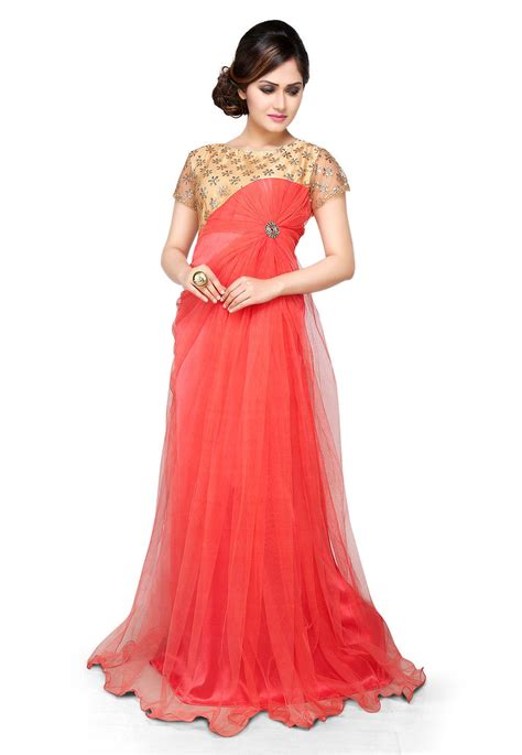 gaun dress design with price embroidered net gown in coral and beige tjw248