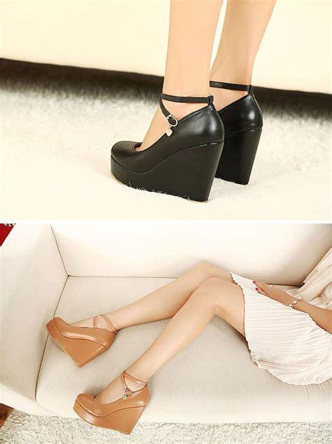 Accept Connie Platform Black womens platform wedge high heels ankle buckle shoes black brown white ebay