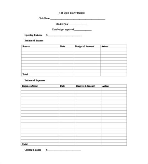 club budget template 8 yearly budget plan templates free sle exle