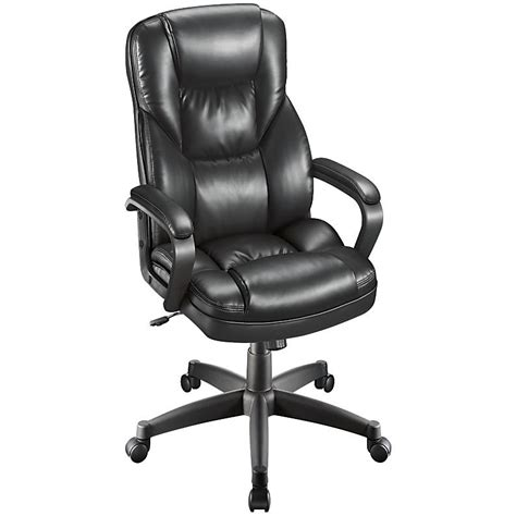 Fosner High Back Chair by Realspace Fosner High Back Bonded Leather Chair Black