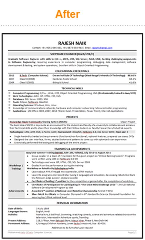 World Best Resume Sles For Freshers Freshersworld Powerresume Site