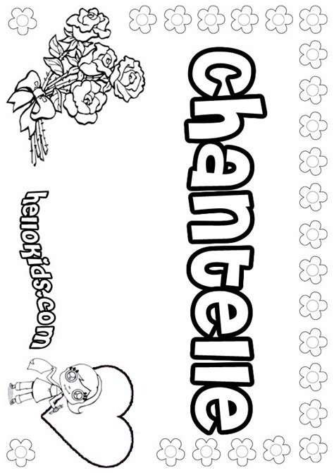 coloring page with your name chantelle coloring pages hellokids