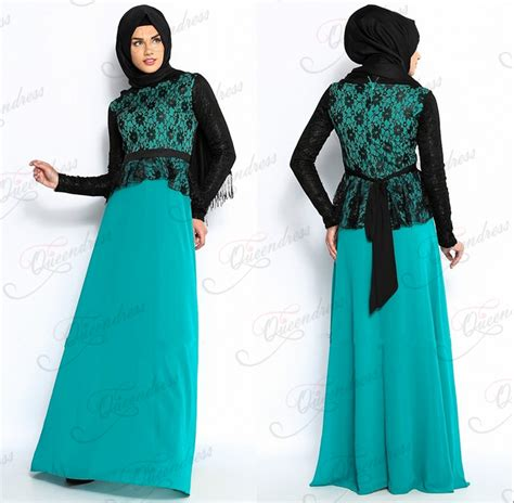 muslim long dress 2014 long sleeve black lace patterns ladies fashion hijab