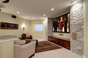 basement tv wall amp home theater transitional basement denver by finished basement company