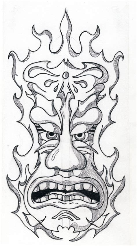 simple tiki mask coloring pages coloring pages