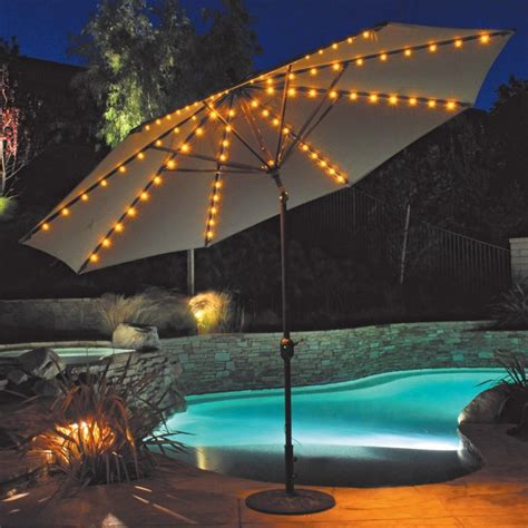 Patio With Lights Patio Umbrella With Led Umbrella Lights Auto Tilt