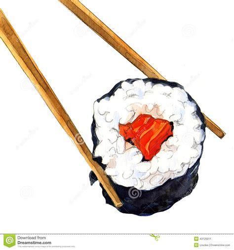 isolated sushi roll  chopsticks stock illustration