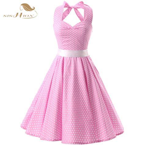Pink Retro Sling S M L Casual Dress 43419 Sishion Pink Black 50s Vintage Dress Polka Dots Casual