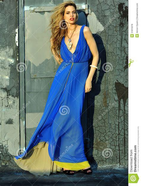 Dress Model Blue Fashion Impor fashion model posing wearing blue evening dress royalty free stock photos image