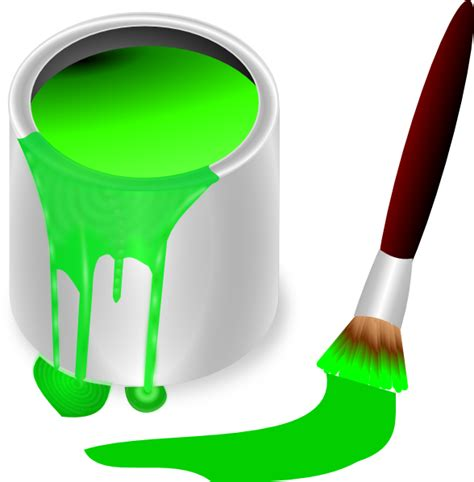 green paint green paint brush and can clip art at clker com vector