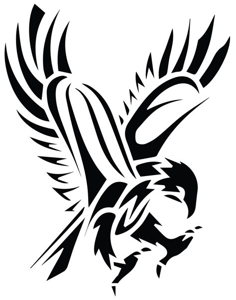 image black tribal flying hawk tattoo stencil png star