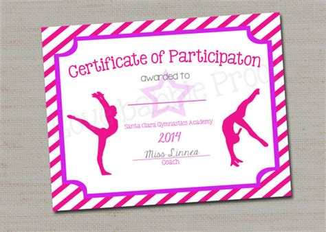 gymnastics award certificate dance award printable digital