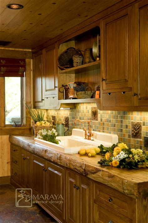 country kitchen santa butlers pantry with rustic wood counter country