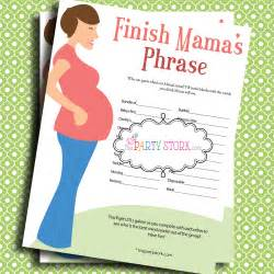 Baby shower games finish mama s mommy s phrase by thepartystork