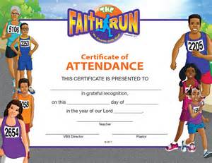 vbs certificate template vbs the faith run certificate of attendance sunday