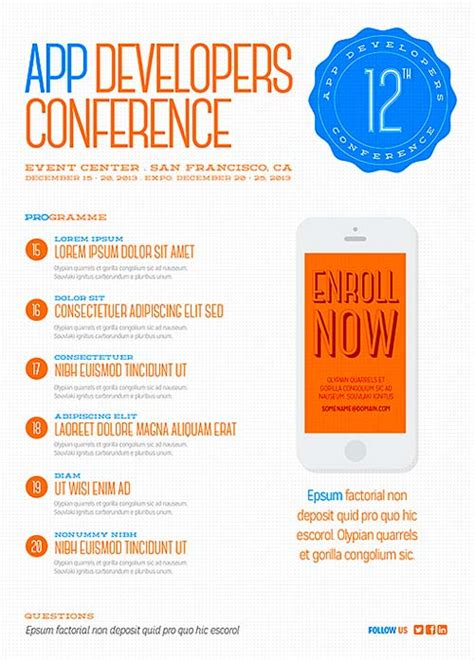 free digital conference flyer psd template