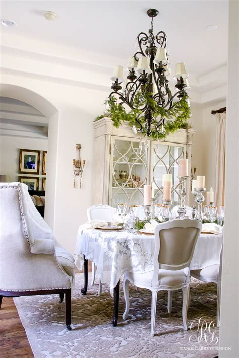elegant white gold christmas dining room table scape