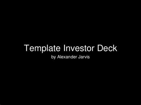 Template Seed Stage Investor Deck For Startups Investor Deck Template