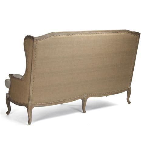 couch bench french country leon high back linen sofa dining bench