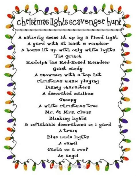 christmas lights scavenger hunt layers of learning