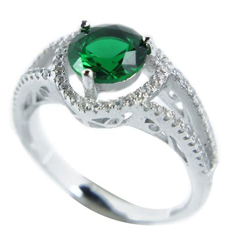 luxurious antique 1 carat created green emerald engagement