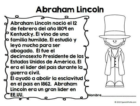 abraham lincoln biography en español 7 best actividades de presidentes presidents activities