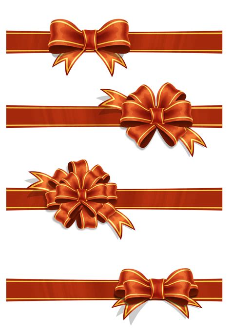 4 red ribbons psd file art background birthday bow