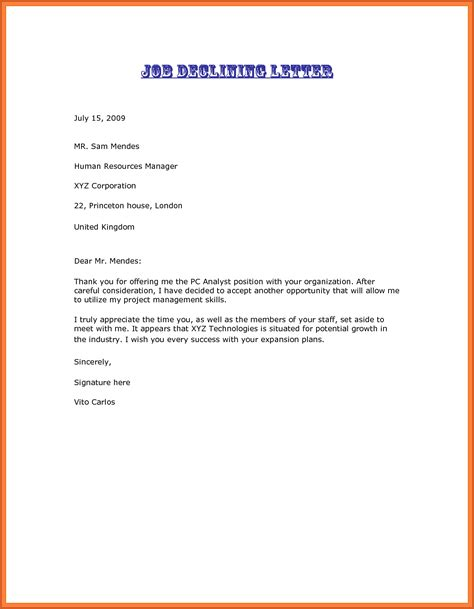Decline Letter After Offer Decline Offer Letter Sop Exle