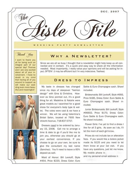wedding newsletter template brides helping brides help bridesmaids newsletter