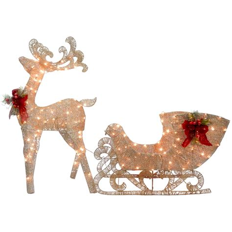 Reindeer Lights Outdoor National Tree Co Reindeer And Santa S Sleigh With Led Lights Decoration Reviews