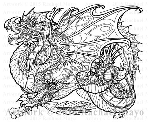 abstract dragon coloring pages malachite sentinel lineart by rachaelm5 on deviantart