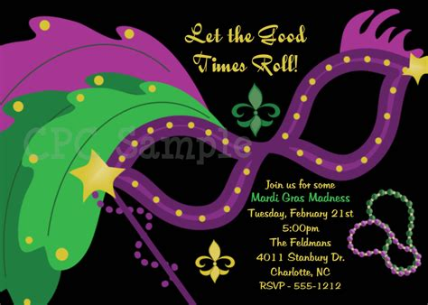 mardi gras mask party invitation masquerade ball party