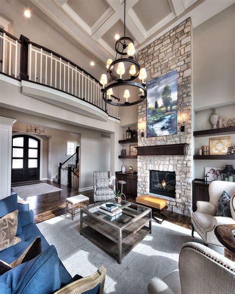 great room open floor plan floor  ceiling stone