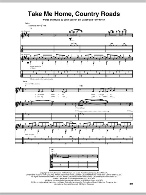 take me home country roads by denver guitar tab
