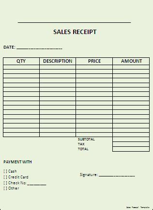 standard photography sales receipt template sales receipt template professional word templates