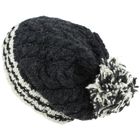 wool knit hat chunky wool knit beanie bobble hat warm winter