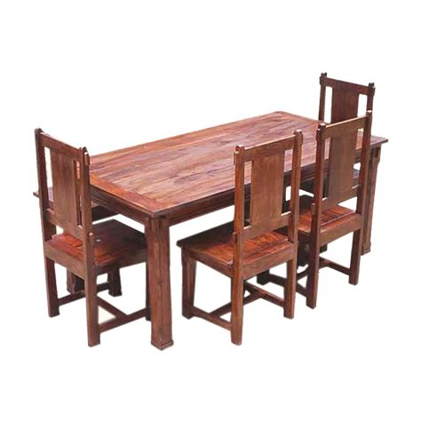 Rustic Wood Dining Table Set Rustic Solid Wood Santa Dining Table Set