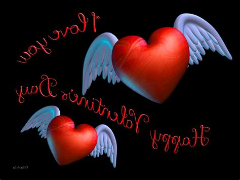 wallpaper 3d love you winged valentine hearts red love you day 3d hd wallpaper