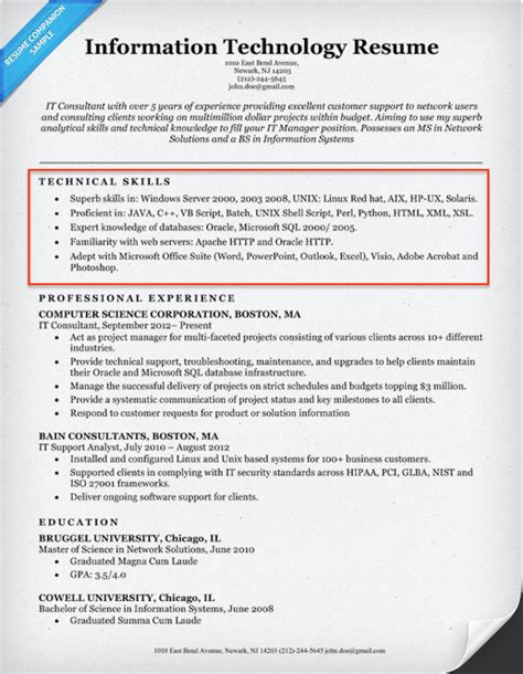 Skills Section Resume by Technical Skills Exles Resume Exles Of Resumes