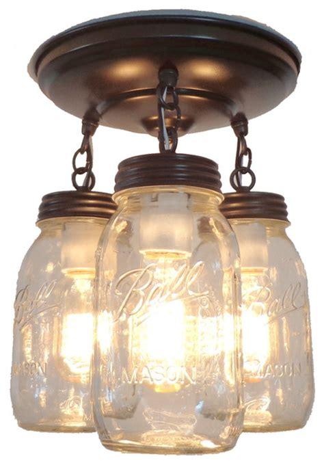 jar flush mount light jar light fixture trio of quarts rubbed