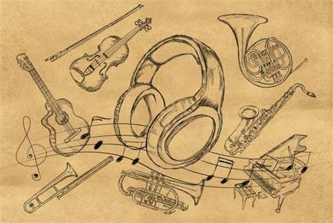 sketch paper pattern headphone sketch music instruments on brown paper photo