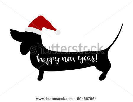 new year greetings symbols happy new year greeting card dachshund stock vector