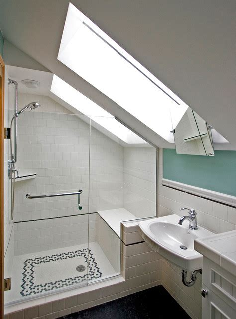 bathrooms in attic spaces an additional 3 4 bathroom built into former attic space transitional bathroom