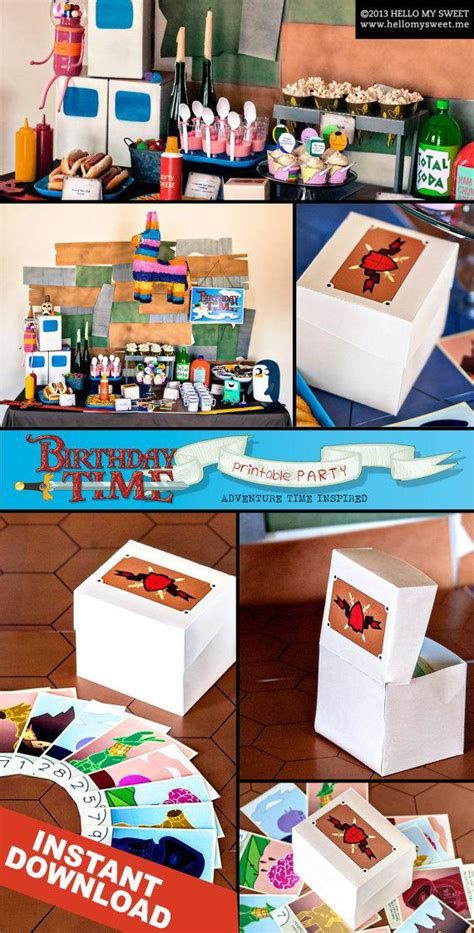 adventure time birthday card template items similar to adventure time favor box instant
