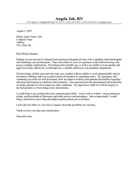 cover letter for a nursing position registered cover letter resume cover letter