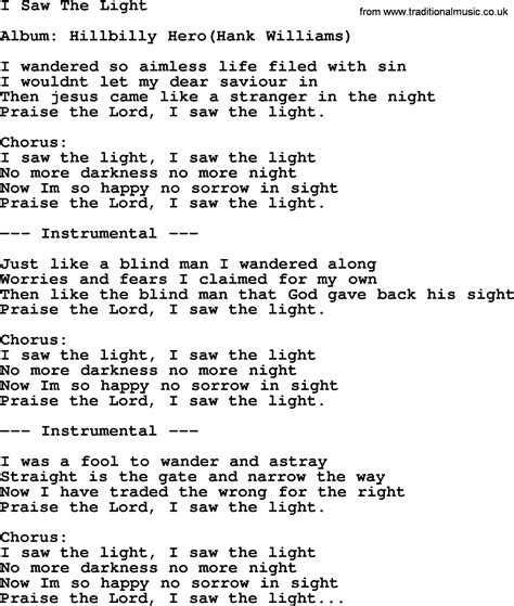 Song I Saw The Light by Hank Williams Song I Saw The Light Lyrics