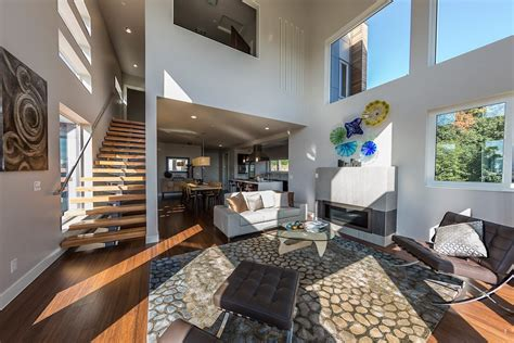 Double height ceiling design living room contemporary with tall ceilings gray walls gray walls