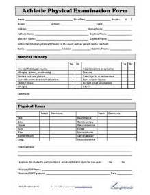 health physical form template athletic physical form athletic