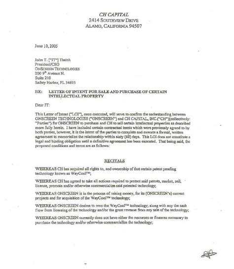 Sle Letter Of Intent To Buy Lot Exhibit 10 9